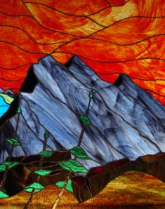 Mount Rundle by stained glass artist, Bill Anthony of Unique Stained Glass Works.